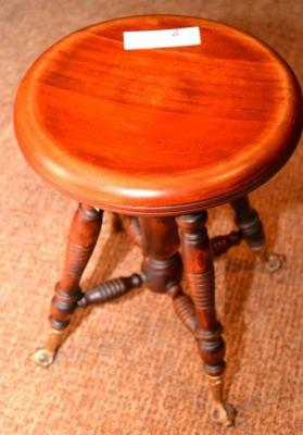ORGAN STOOL, ROUND SEAT WITH TAPERED LEGS,