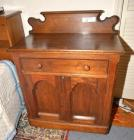 OAK WASHSTAND, DARK FINISH WITH BACKSPLASH