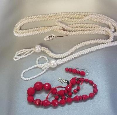 "30"" WHITE BEAD NECKLACE WITH TASSEL - RED NECKLACE WITH ASSORTED SIZE BEADS"