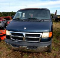 1999 DODGE RAM 3500 PASSENGER VAN - 180,000 MILES SHOWING (UNAVAILABLE AT TIME OF  INSPECTION) - BLUE - INTERIOR LINER IS MISSING -  SEATS HAVE TEARS - PAINT IS PEELING - REAR  DOOR IS BENT - PASSENGER REAR WINDOW IS  BOLTED PERMANENTLY - NEEDS BATTERY -