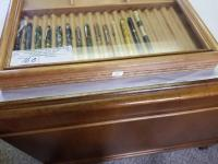"(2) WOOD DISPLAY CASES, GLASS TOP, 12.5"" x 15.5"", **PENS NOT INCLUDED**"