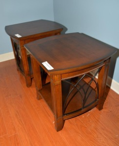 "(2) END TABLES, 21"" x 23"", BEADED TRIM, LATTICE SHELF"