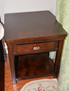 MAHOGANY END TABLE, DRAWER & LOWER SHELF