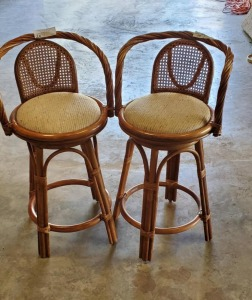 (2) BAR STOOLS - CUSHIONED SWIVEL SEATS- CANE BACK