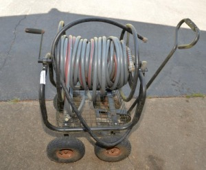 ROLLING WATER HOSE REEL CART, WITH HOSE