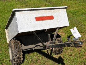 "YARD CART, BALL HITCH, DUMP BED, RUBBER TIRES  - 29"" wide inside - 15 1/2"" and then tapers - 18"" tall"