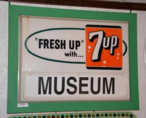 """FRESH UP with 7up MUSEUM"" PLASTIC SIGN"