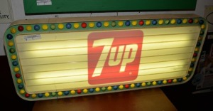 """7Up"" METAL LIGHTED DISPLAY SIGN"