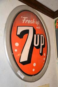 """Fresh up with 7up"" OVAL TIN SIGN - ca. 1960"