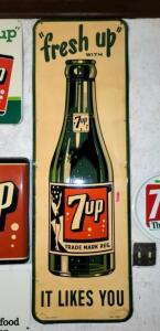 "METAL 7UP SIGN, ""fresh up WITH 7up IT LIKES YOU"""