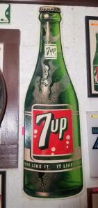 """7UP"" BOTTLE TIN SIGN, ca. 1962"