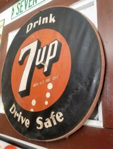 """Drink 7up Drive Safe"" ROUND SIGN"