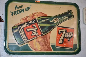 """Your FRESH UP 7up"" SIGN - OVAL CORNERS - ca. 1947"