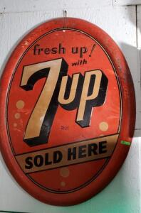 "OVAL ""fresh up! with 7up SOLD HERE"" METAL SIGN"