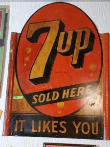 """7up SOLD HERE, IT LIKES YOU"" SIGN - OVAL TOP"