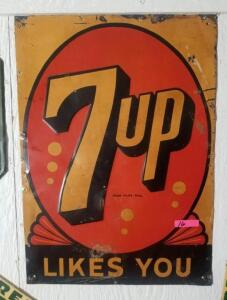 """7up LIKES YOU"" TIN SIGN - ""MADE IN U.S.A. STOUT"