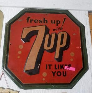"""fresh up! with 7up IT LIKES YOU"" OCTAGONAL SIGN -"