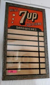 """REAL 7up SOLD HERE"" FRAMED SANDWICHES SIGN"