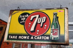 """Fresh up with 7up TAKE HOME A CARTON"" SIGN"