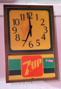 """7UP"" CLOCK - NO BULB IN IT - CONDITION UNKNOWN"
