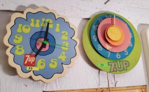 (2) 7UP COLORFUL CLOCKS -