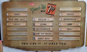 """Fresh Up WITH 7up"" WOODEN MENU SIGN"