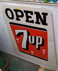 """OPEN 7up"" METAL SIGN"