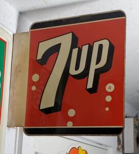 "DOUBLE-SIDED METAL ""7up"" SIGN, WALL MOUNT"
