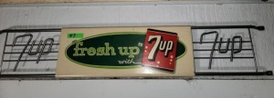 "VINTAGE 7UP DOOR PUSH ""fresh up with 7up"""