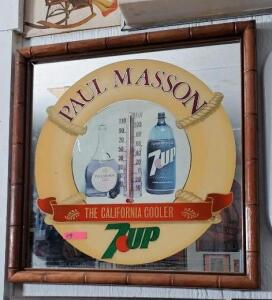 "FRAMED ""PAUL MASSON 7UP"" THERMOMETER ON MIRROR"