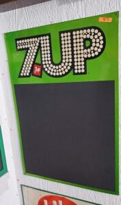 7UP WRITE-ON BOARD, METAL  AND 7UP POSTER, FRAMED