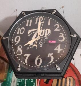 """7UP"" CLOCK, BLACK FACE, DOES LIGHT UP"