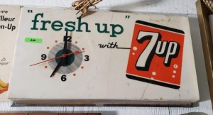 """fresh up with 7up"" PLASTIC CLOCK, DOES WORK"