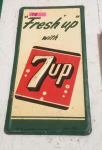 """Fresh up with 7up"" METAL SIGN, ca. 1957"