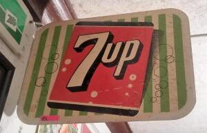 """7UP"" METAL, DOUBLE-SIDED SIGN, ca. 1959"