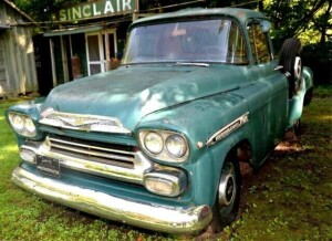 "1957 ""31"" CHEVROLET APACHE PICK-UP ORIGINAL CAB RED, HAS BEEN REPAINTED,  PAINT IS CRACKED AND PEELING, HAS HAD SOME REPAIR, SPRING ANTENNA BROKEN OFF, MOTOR HAS BEEN CHANGED, FIRING ORDER 18486672, V8, , RUSTY AROUND WINDOWS, DRIVER SIDE WINDOW CRACKED ,"