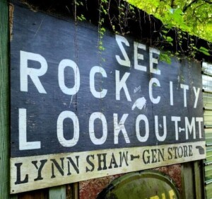 SEE ROCK CITY LOOKOUT - MT. PLYWOOD SIGN, 4' x 8' LYNN SHAW GEN STORE - EXPOSED TO WEATHER - SHOWS WEAR