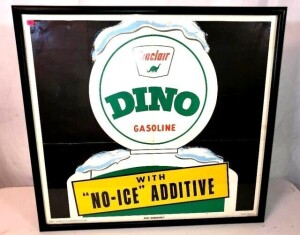 "FRAMED ""SINCLAIR DINO GASOLINE"" LITHO IN U.S.A. ""PRATT POSTER CO, INDIANAPOLIS, IND"" - COLORS ARE BRIGHT - SHOWS LINES WHERE FOLDED - FRAMED AND MATTED - SIZE 26.5"" TALL"