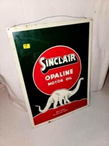 "VINTAGE ""SINCLAIR OPALINE MOTOR OIL"" TIN SIGN WITH DINOSAUR- SOME SCRATCHES, SHOWS DETERIORATION, SLIGHT AMOUNT OF RUST - ""AAA SIGN CO. COITSVILLE, OHIO"" - SIZE 11"" WIDE x 15"""