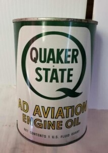 QUAKER STATE AD AVIATION ENGINE OIL QUART CAN FULL COLOR IS GOOD, FEW LIGHT SCRATCHES, TOP SHOWS LIGHT RUST, BOTTOM IS CLEAN  LIGHT RUB, FEW DENTS