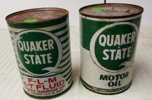 (2) QUAKER STATE FULL QUART CANS QUAKER STATE F-L-M A-T FLUID QUART CAN, AUTOMATIC TRANSMISSION FLUID, NUMEROUS SCRATCHES, CAN IS BENT, TOP HAS STAINS, SHOWS LIGHT PITTING, BOTTOM CLEAN, SLIGHT DENT -- QUAKER STATE MOTOR OIL QUART CAN, FADED, SHOWS PITTIN