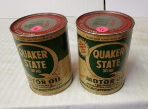 (2) FULL QUAKER STATE MOTOR OIL, VINTAGE QUART CAN 30HD, FOR GASOLINE & AUTOMOTIVE DIESEL ENGINES, WRITING IS GOOD, SLIGHT DISCOLORATION, TOP SHOWS FEW SPOTS OF PITTING, BOTTOM IS CLEAR