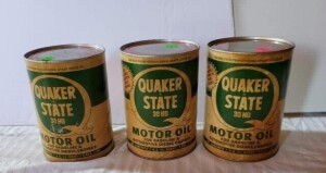 (3) FULL QUAKER STATE MOTOR OIL, VINTAGE QUART CAN 30HD, FOR GASOLINE & AUTOMOTIVE DIESEL ENGINES, WRITING IS GOOD, CANS SHOW SLIGHT DISCOLORATION, SLIGHT RUST ON TOP OR BOTTOM