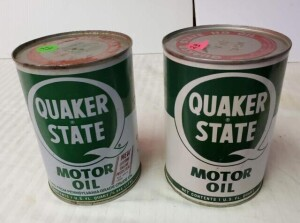(2) FULL QUAKER STATE HD MOTOR OIL QUART CANS SAE 30 CAN SHOWS SOME SCRATCHES, RUBS, TOP HAS DISCOLORATION, WRITING IS LEGIBLE, BOTTOM IS ALMOST CLEAN -- SAE 20-20W CAN HAS A SLIGHT DENT, FEW SCRATCHES, TOP IS CLEAN, BOTTOM IS CLEAN