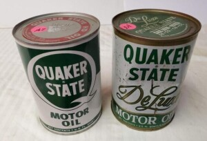 (2) FULL QUAKER STATE MOTOR OIL QUART CANS SAE 20-20W CAN HAS FEW LIGHT BENDS, LETTERING IS BRIGHT, NUMEROUS LIGHT SCRATCHES, TOP IS CLEAN WITH FEW SCRATCHES, BOTTOM IS CLEAN -- SAE 10W 40HD DELUXE CAN IS BENT, NUMEROUS SCRATCHES, LIGHT PITTING, TOP IS DI
