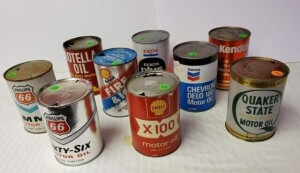 (9) OIL CANS - QUAKER STATE SUPER BLEND MOTOR OIL, EMPTY QUART CAN, WRITING IS LEGIBLE, SHOWS SCRATCHES, WEAR, SOME DENTS -- PHILLIPS 66 SIXTY-SIX MOTOR OIL EMPTY QUART CAN, OPENED, COLOR IS GOOD, LIGHT SCRATCHES, DISCOLORATION NEAR TOP, TOP  HAS VERY FEW