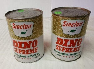 "(2) SINCLAIR DINO SUPREME MOTOR OIL QUART CANS FULL CANS, WRITING IS CLEAR, SMALL SPOT ABOVE ""SINCLAIR"", PAPER IS GOOD, FEW RUBS AND SCRATCHES, TOP IS CLEAN WITH 2 SMALL PITTED SPOTS, BOTTOM RIM SHOWS LIGHT TURNING AND PITTING, WEAR ON BOTTOM -- 2ND CAN H"