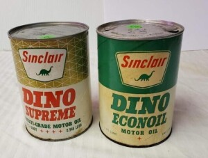 (2) SINCLAIR MOTOR OIL CANS - SINCLAIR DINO SUPREME MOTOR OIL FULL QUART CAN, WRITING IS BRIGHT, EXTERIOR IS FADED AND TURNED NEAR BOTTOM RIM, TOP IS CLEAN WITH FEW DENTS, BOTTOM IS CLEAN, SLIGHT DENT AND DISCOLORATION NEAR LOWER BOTTOM RIM, LIGHT SPOTS O