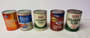 (5) MOTOR FLUID QUART CANS - AMOCO AMOLUBE MOTOR OIL FULL QUART CAN, SAE30, WRITING BRIGHT, CAN IS CLEAN, TOP IS CLEAN WITH VERY FEW SPOTS, LOWER RIM SHOWS SLIGHT PITTING, BOTTOM IS CLEAN -- TEXACO TEXAMATIC FLUID, FULL QUART CAN, AUTOMATIC TRANSMISSION F