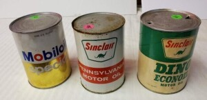 (3) QUART CANS MOTOR OIL - SINCLAIR DINO ECONOIL MOTOR OIL EMPTY QUART CAN, CAN SHOWS DISCOLORATION, SCATTERED SPOTS, SLIGHLY TARNISHED, TOP IS BRIGHT, 2 OPENING HOLES ON TOP, LIGHT SPOTS OF PITTING ON TOP, BOTTOM RIM BEGINNING TO TURN, BOTTOM SHOWS SOME